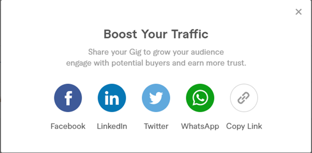 Sharing gigs on Fiverr