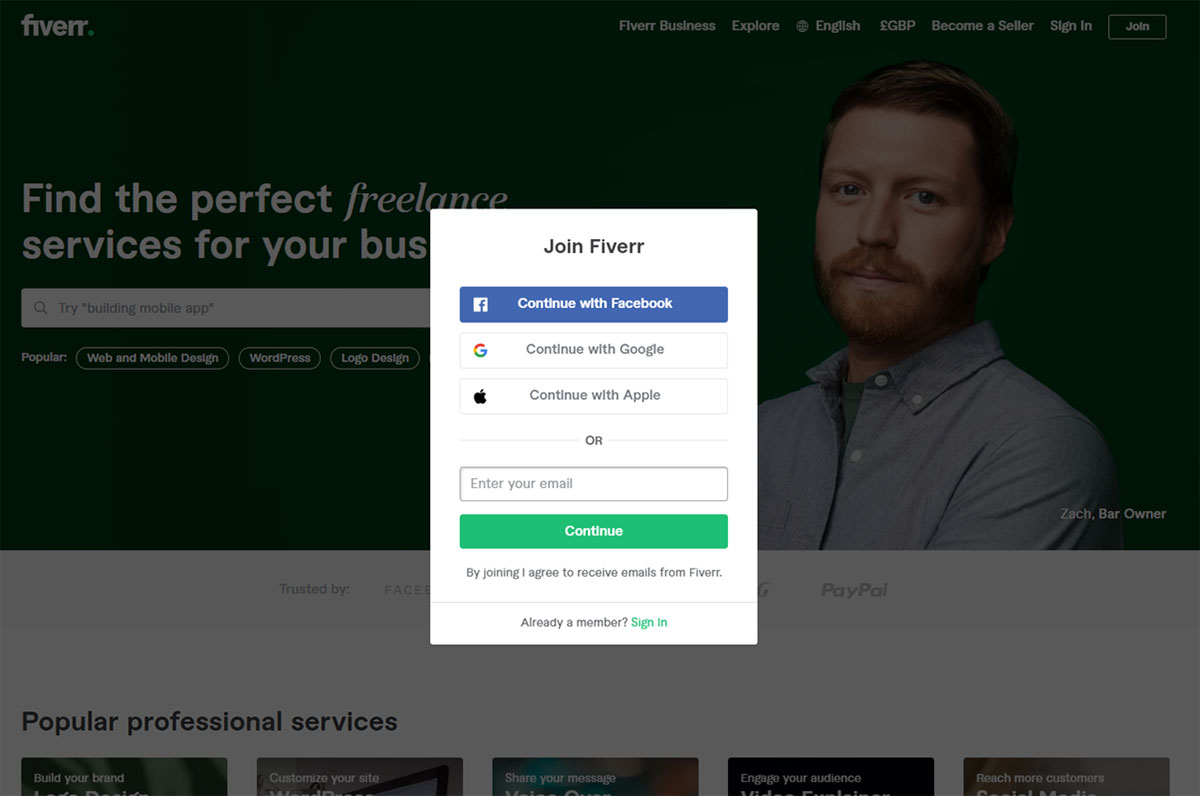 How to join Fiverr